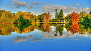 Lake Water Reflection Trees Autumn HQ Image Free Wallpaper
