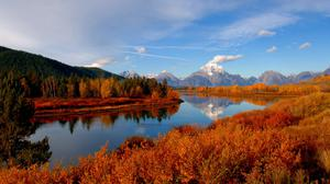 Autumn Trees River And Sky Nature View Free Transparent Image HQ