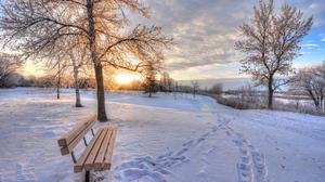 Footprints In Winter Snow And Bench Download HQ Wallpaper