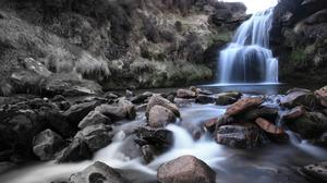 Waterfall And Rocks Hd Wallpaper Download Free