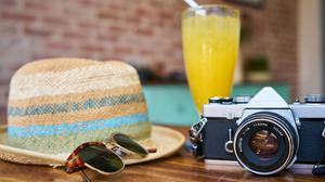 Sun Hat Sunglasses Camera Juice Glass Free Download Image