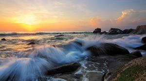 Sea Wave Water Sunrise Background Free Transparent Image HQ