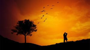 Sunset Couple Love Free Download Image