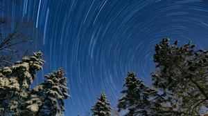 Winter, Night, Star Trail, Snowy Trees Free Photo Wallpaper