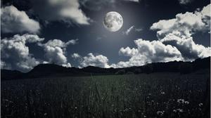 Field Landscape And Moon Clouds Night View Download HD Wallpaper