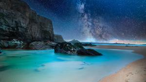 Rocks On Body Of Water During Nighttime Free Photo Wallpaper