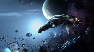Spaceship Outer Space Rocks Free Photo Wallpaper