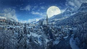 Winter Night Snow Mountains And Moon Hd Free Download Image